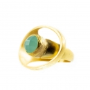 Ring aus Messing vergoldet, mit Aquachalcedony